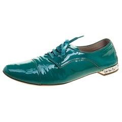 Miu Miu Aquamarine Patent Leather Crystal Heel Lace Up Derby Size 38.5