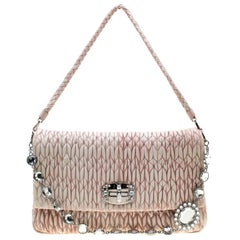 Miu Miu Baby Pink Matelasse Nappa Leather Crystal Shoulder Bag