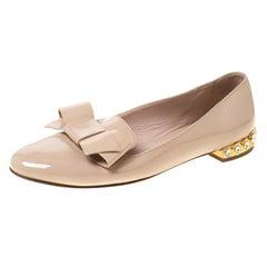 Miu Miu Beige Bow Patent Leather Jewel Heel Ballet Flats Size 37