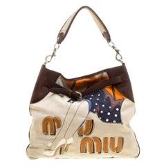 Miu Miu Beige/Brown Canvas Embroidered Shoulder Bag
