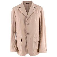 Miu Miu Beige Cotton Single Breasted Blazer Jacket - Size L EU50