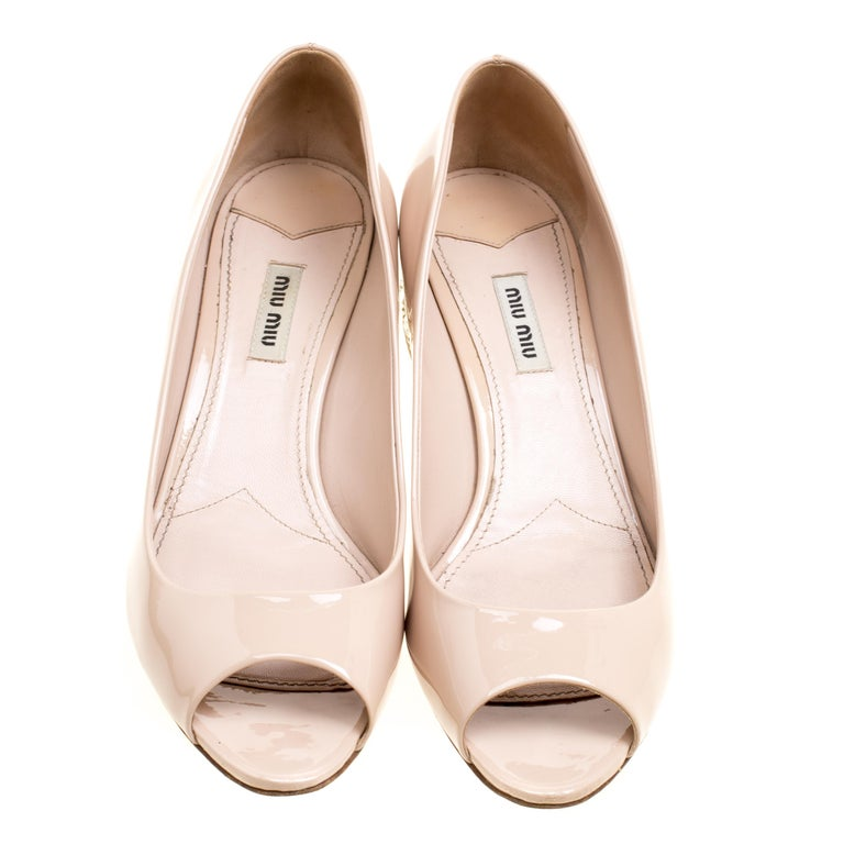 67dc05e412a Miu Miu Beige Leather Crystal Embellished Block Heel Peep Toe Pumps Size 40  In Good Condition