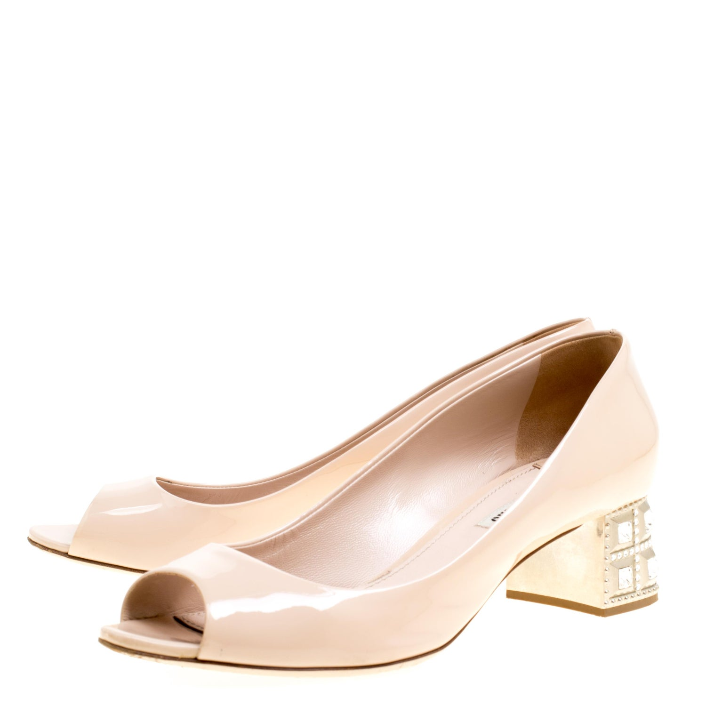 1438140c32249 Miu Miu Beige Leather Crystal Embellished Block Heel Peep Toe Pumps Size 40  For Sale at 1stdibs