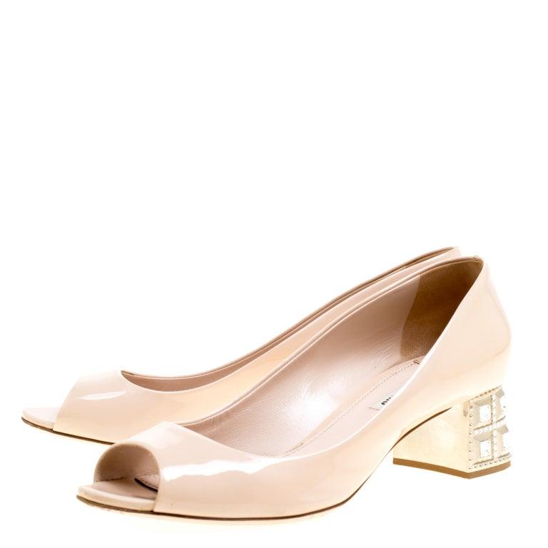 062897508fe Women s Miu Miu Beige Leather Crystal Embellished Block Heel Peep Toe Pumps  Size 40 For Sale