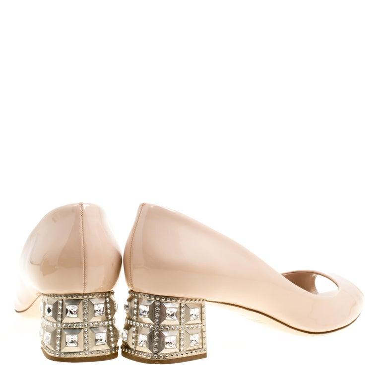 5b0abeb5f552 Miu Miu Beige Leather Crystal Embellished Block Heel Peep Toe Pumps Size 40  For Sale 1