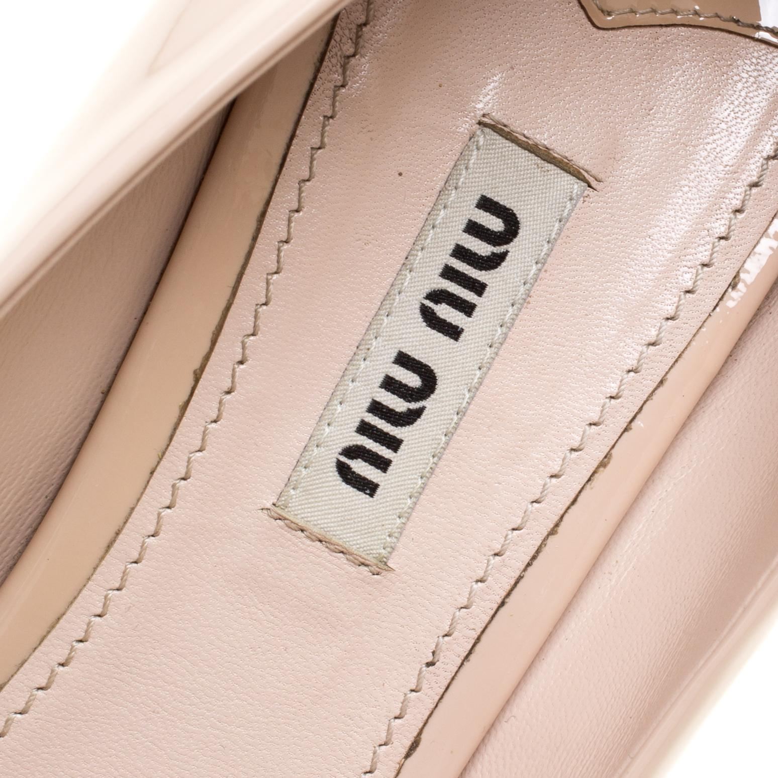 0204f26f5dc Miu Miu Beige Leather Crystal Embellished Block Heel Peep Toe Pumps Size 40  For Sale at 1stdibs