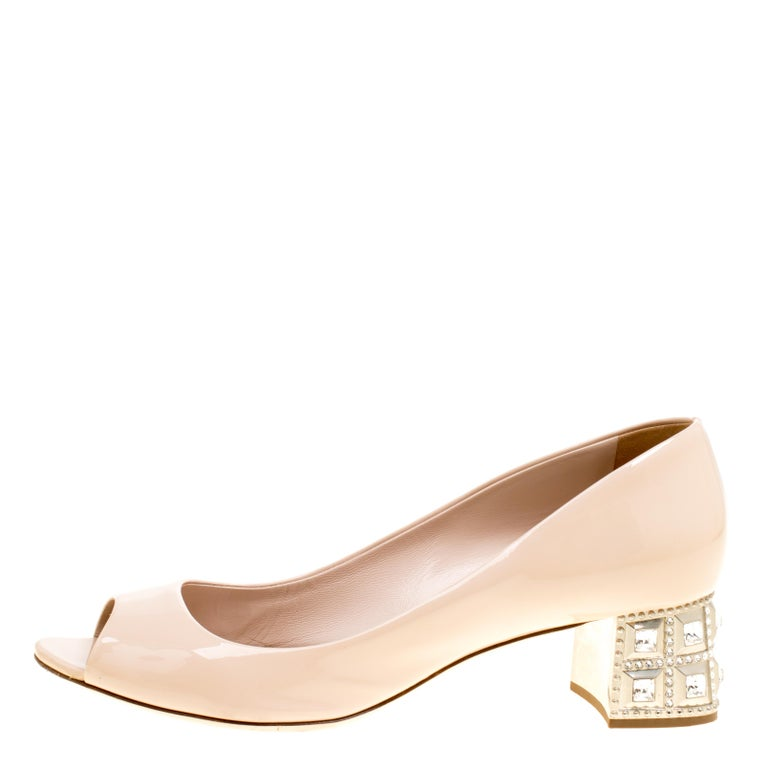 4e8620d1ea7 Miu Miu Beige Leather Crystal Embellished Block Heel Peep Toe Pumps Size 40  For Sale