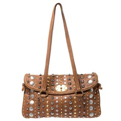 Miu Miu Beige Leather Studded Shoulder Bag