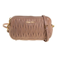 Miu Miu Beige Matelasse Leather Double Zip Crossbody Bag