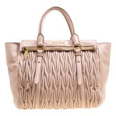 Miu Miu Beige Matelasse Leather Top Handle Bag