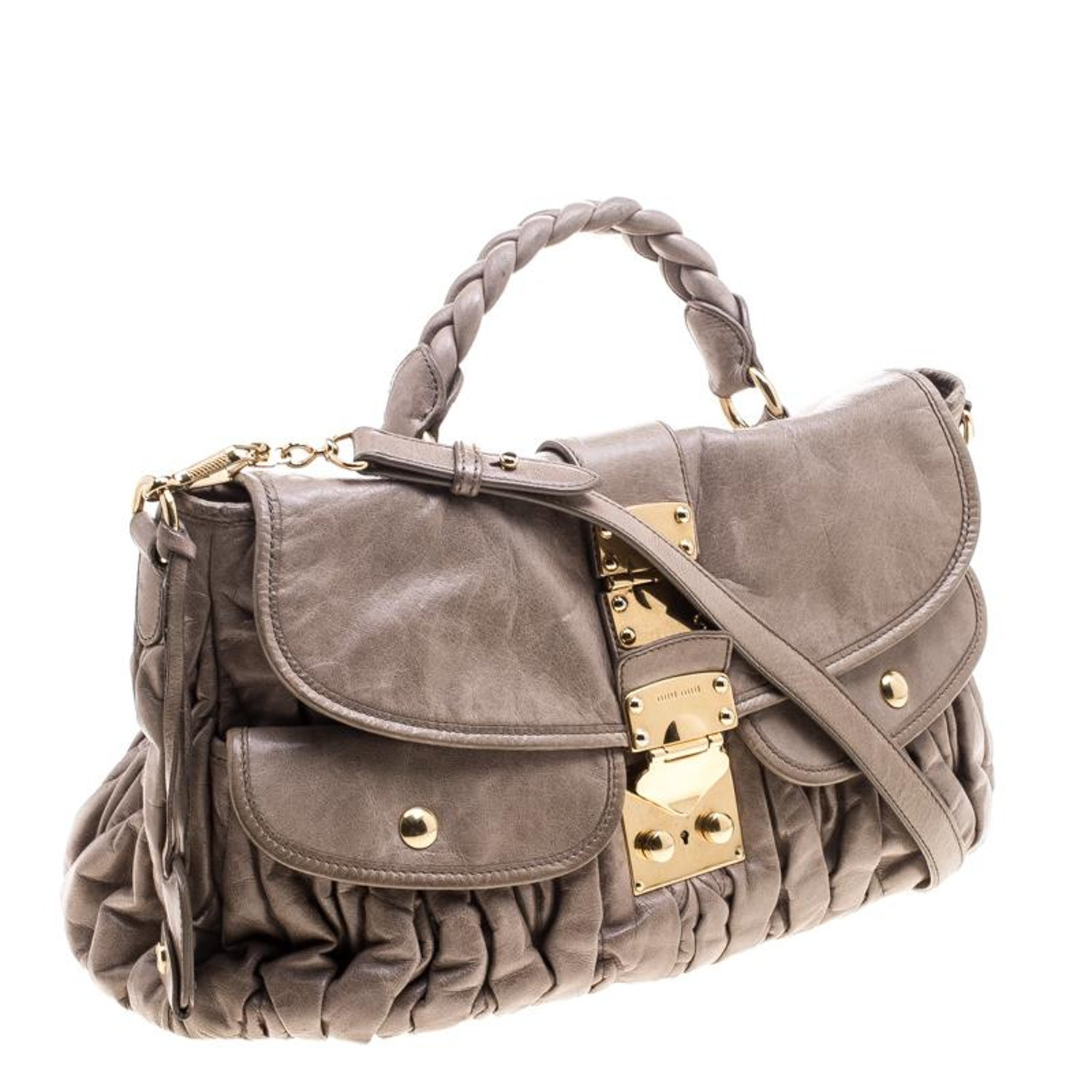 ae0d1a205eed Miu Miu Beige Matelasse Lux Leather Coffer Hobo For Sale at 1stdibs