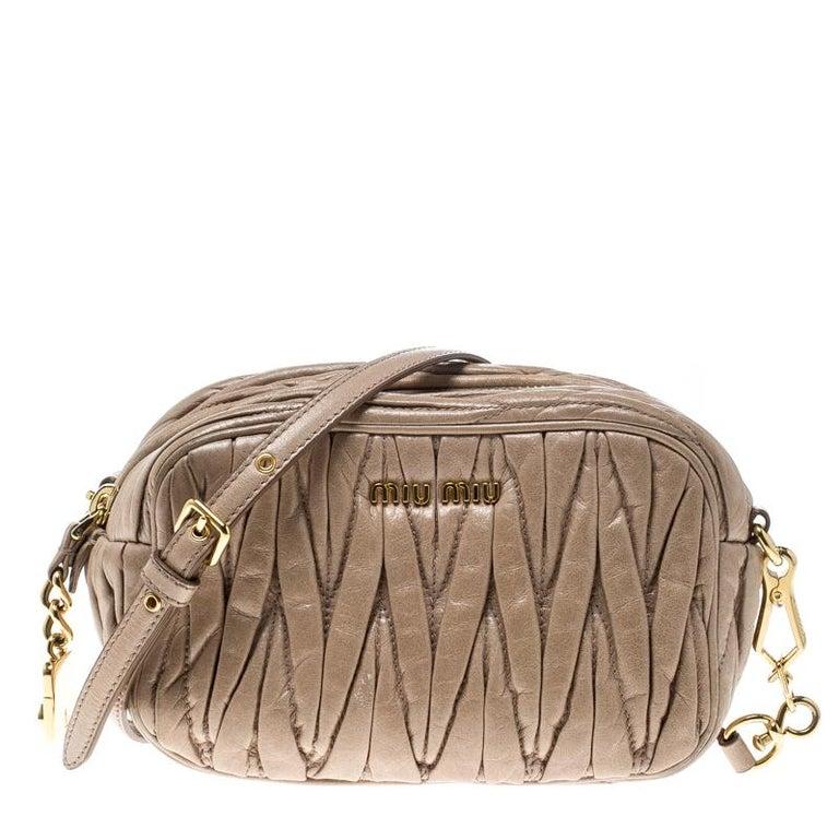 3e3909ca4cbf Miu Miu Beige Matelasse Nappa Leather Mini Zipper Shoulder Bag For Sale