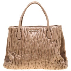 Miu Miu Beige Metalesse Leather Tote