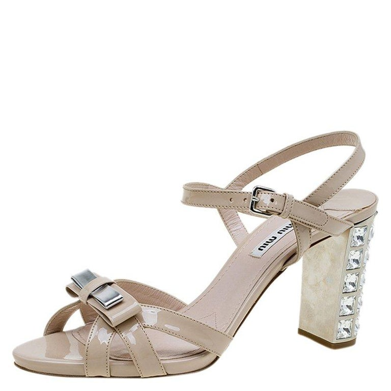 ac95a97ccc3c Miu Miu Beige Patent Crystal Heel Sandals Size 38.5 For Sale at 1stdibs
