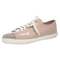 Miu Miu Beige Patent Leather Metal Cap Toe Lace Up Sneakers Size 36.5