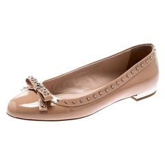 Miu Miu Beige Patent Leather Studded Bow Ballet Flats Size 37.5