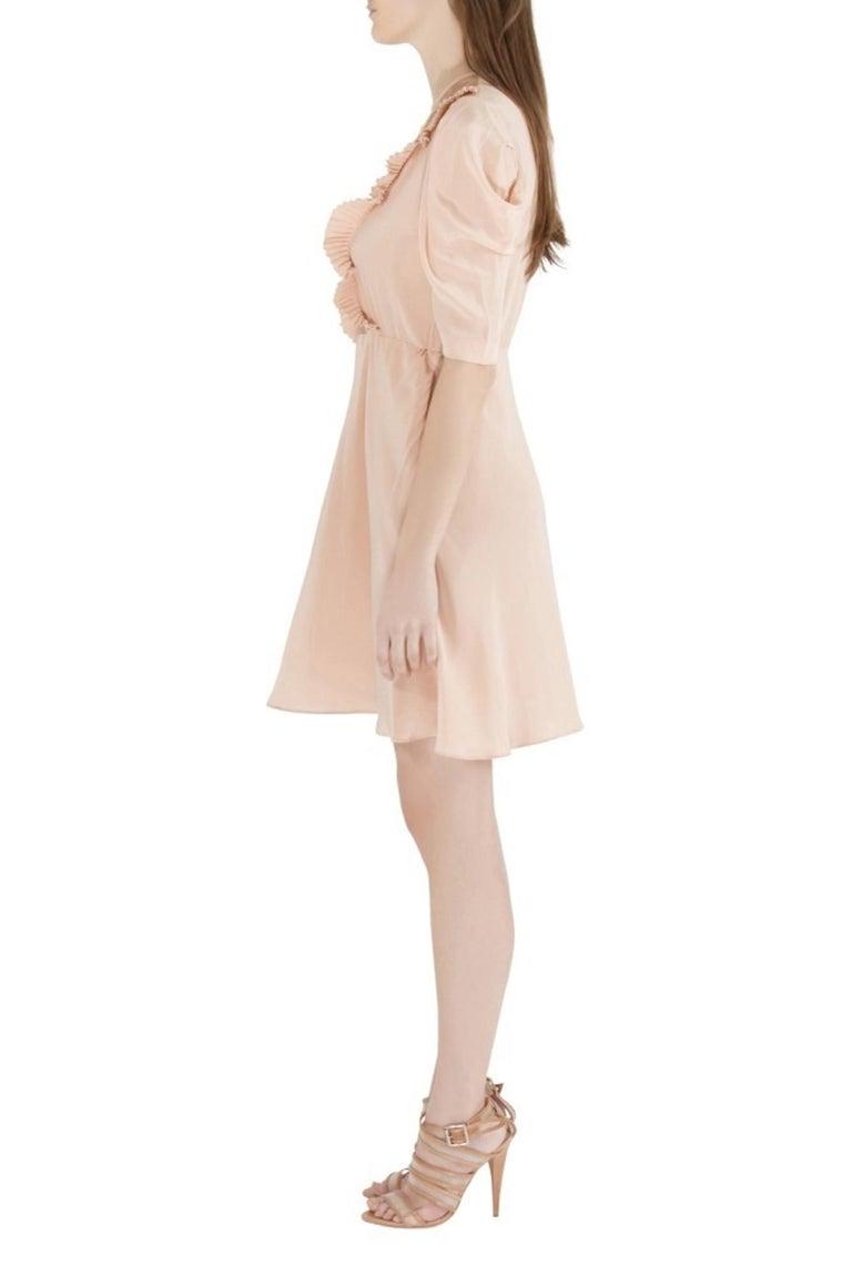 Miu Miu Beige Silk Lace Insert Pleated Ruffle Trim Dress S In Excellent Condition For Sale In Dubai, Al Qouz 2