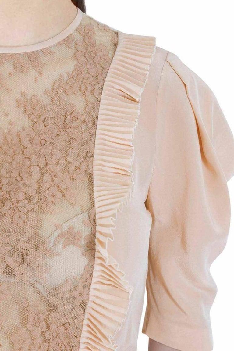 Women's Miu Miu Beige Silk Lace Insert Pleated Ruffle Trim Dress S For Sale