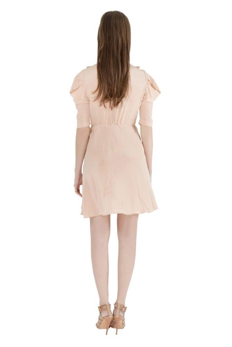 Miu Miu Beige Silk Lace Insert Pleated Ruffle Trim Dress S For Sale 1