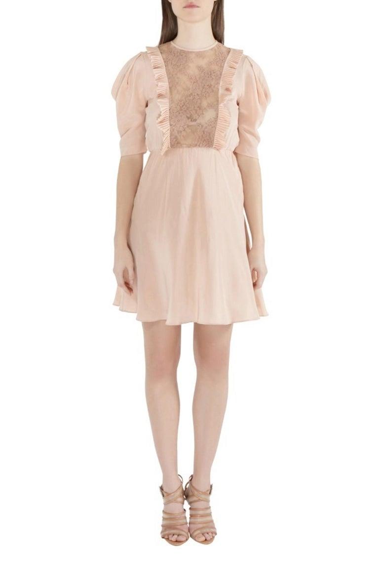 Miu Miu Beige Silk Lace Insert Pleated Ruffle Trim Dress S For Sale 2