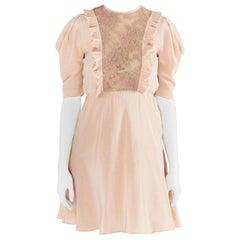 Miu Miu Beige Silk Lace Insert Pleated Ruffle Trim Dress S