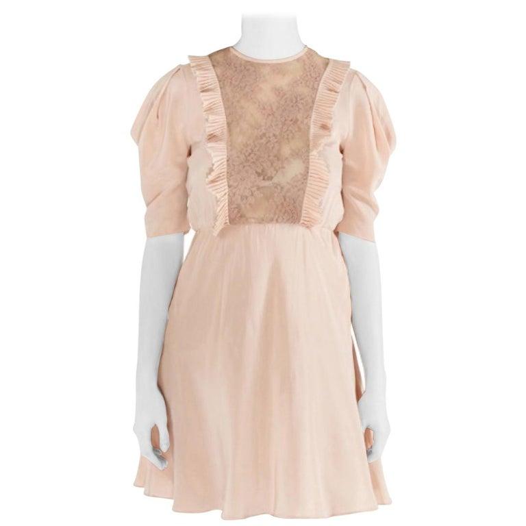 Miu Miu Beige Silk Lace Insert Pleated Ruffle Trim Dress S For Sale