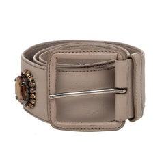 Miu Miu Beige Soft Leather Embellished Buckle Belt 70CM