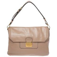 Miu Miu Beige Vitello Soft Leather Flap Shoulder Bag