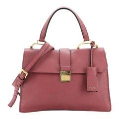 Miu Miu Bicolor Madras Convertible Compartment Top Handle Bag Leather Med