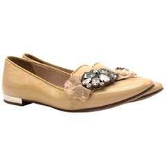Miu Miu Biege Patent Leather Crystal Embroidered Loafers 37