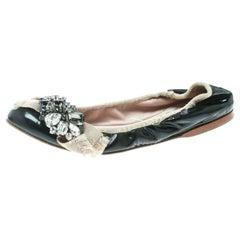 Miu Miu Black/Beige Patent Leather Crystal Scrunch Ballet Flats Size 38.5