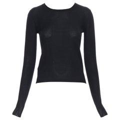 MIU MIU black cashmere silk long sleeve sweater IT38 XS
