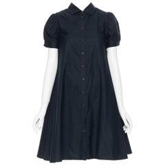MIU MIU black cotton short sleeve button front flared A-line midi dress IT40