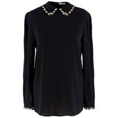 Miu Miu Black Crepe Floral Crystal Embellished Shirt estimated size XS