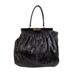 Miu Miu Black Distressed Leather Frame Tote Bag Satchel
