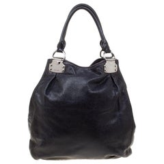 Miu Miu Black Glaze Nappa Leather Shopper Tote