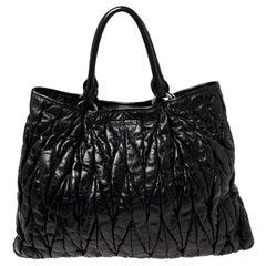 Miu Miu Black Glazed Matelasse Leather Tote