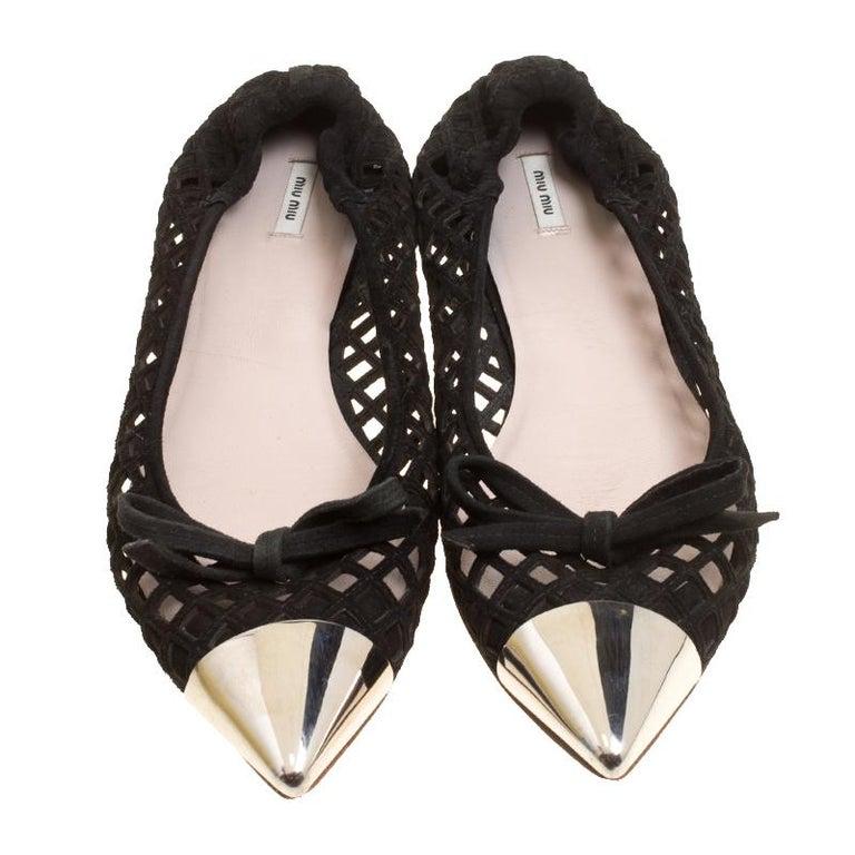 b680b1a8908 Miu Miu Black Laser Cut Suede Metal Cap Toe Ballet Flats Size 37.5 ...