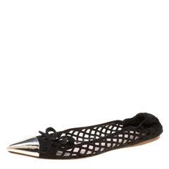 6aa8d60e3ffc Miu Miu Black Laser Cut Suede Metal Cap Toe Ballet Flats Size 37.5
