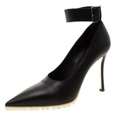 Miu Miu Black Leather Ankle Strap Pointed Toe Pumps Size 39