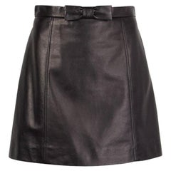 Miu Miu black leather bow detail Short Skirt M