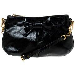 Miu Miu Black Leather Bow Pochette Bag