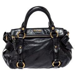 Miu Miu Black Leather Bow Satchel