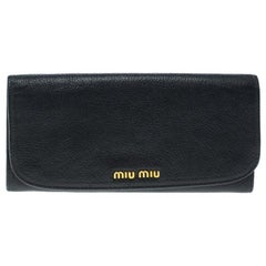 Miu Miu Black Leather Continental Wallet