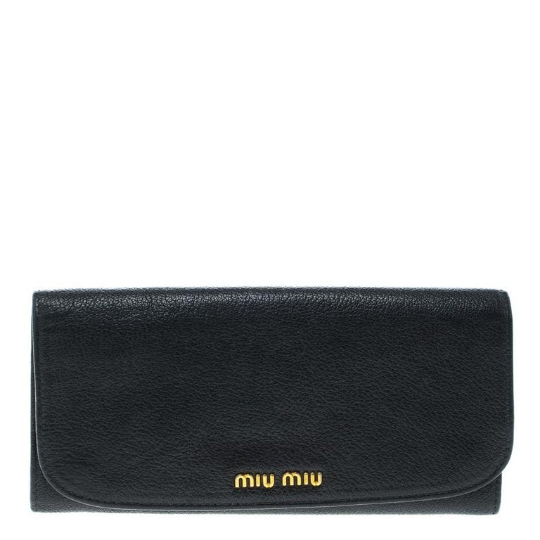 Miu Miu Black Leather Continental Wallet For Sale at 1stdibs 519f4f8e8394