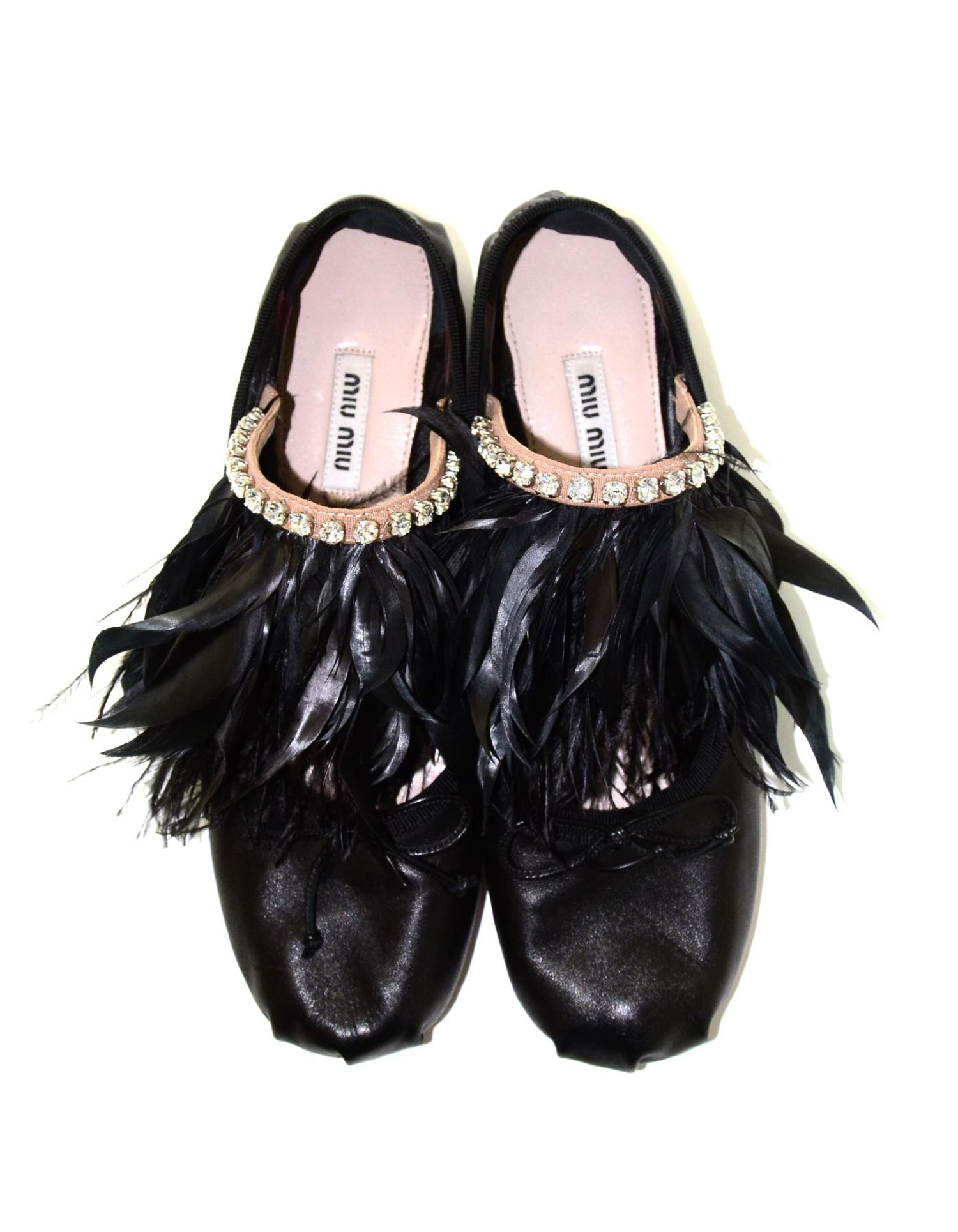 6fd5e4f40a3 Miu Miu Black Leather Feather Trim Ballet Slippers Flat Shoes W  Crystals  Sz 38 For Sale at 1stdibs