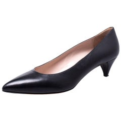 Miu Miu Black Leather Kitten Heel Pumps Size 38