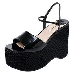 Miu Miu Black Leather Mesh Wedge Paltform Ankle Strap Sandals Size 38