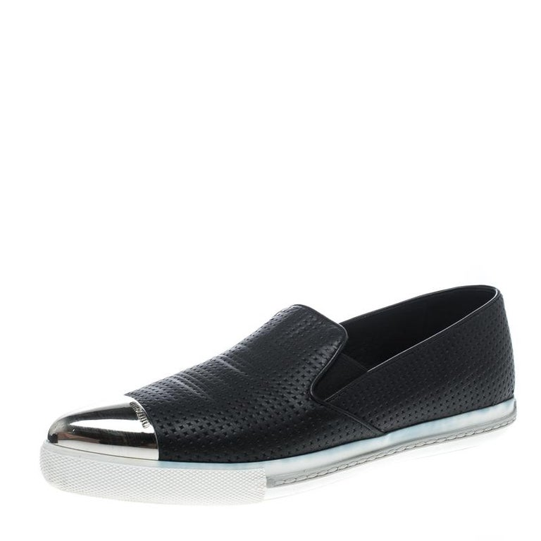 87e1cb91cd34 Miu Miu Black Leather Metal Cap Toe Skate Sneakers Size 38 at 1stdibs