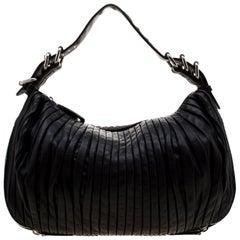 Miu Miu Black Leather Plisse Hobo